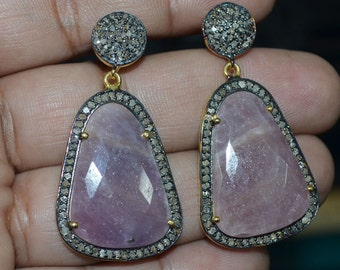 Beautiful Natural Sapphire Earrings with Diamond on 925 Silver