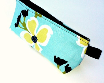 Small Cosmetic Bag Blue with Flowers