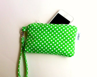 Small iPhone Wristlet Green and White Polka Dots