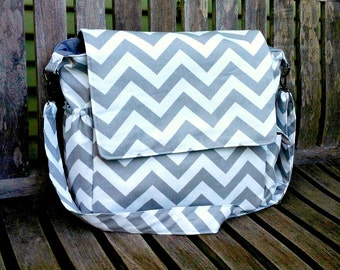Large Chevron Diaper Bag, Messenger Bag