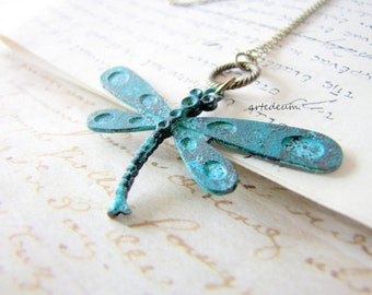 Dragonfly Necklace Vintage Blue Verdigris necklace Nature jewelry Insect pendant Bronze Grunge Patina Gift for her
