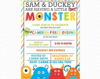 Little Monster Baby Shower Invite Invitation