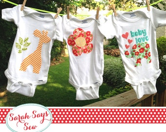 "Baby One Piece Decorating Party - DIY Baby Shower- ""The Complete Set of Designs"" PDF Download - Applique Designs"