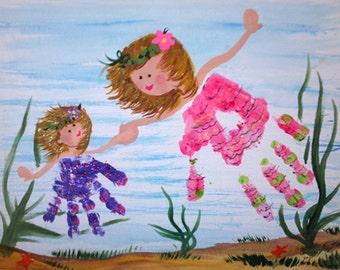 Custom Hand print or Foot print Painting Artwork  Keepsakes Momento Art