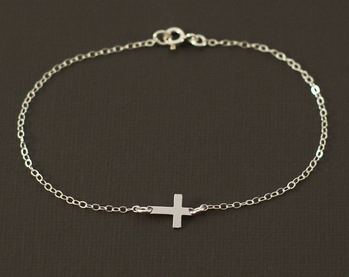 Silver Cross Bracelet - Sterling Silver Cross Bracelet