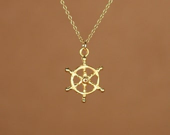 Ship wheel necklace - captains wheel - nautical necklace - beach - a 22k golf vermeil ships wheel on a 14k gold fileld chain