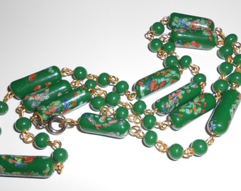 Vintage art necklace 1930s glass floral and jade tubular beads and chain Free USA Shipping