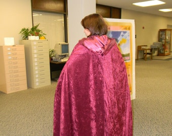 Burgundy Lined, Hooded Cloak - good for a Little Red Riding Hood costume and more!