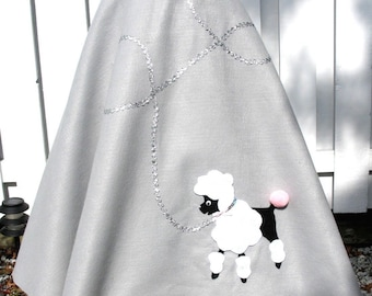 """Adult Pale Gray Hand-Made Poodle Skirt Womens Large 33-38"""" Waist, 29"""" Long"""