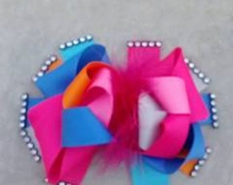 Loopy bow with marabou and rhinestones