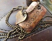 Custom Hand Stamped Necklace...Darkened Rustic Copper Dog Tag with Simple Darkened Brass Heart on Antiqued Brass Ball Chain