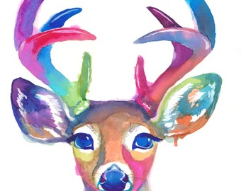 Colorful Doe and Buck Duo Pack - Watercolor - Abstract - Art