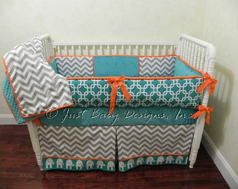 Custom Crib Bedding Set Marin - Boy Baby Bedding, Teal Crib Bedding, Gray Chevron and Teal with Orange Baby Bedding