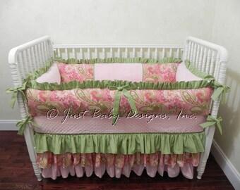 Baby Crib Bedding Set Savannah - Girl Baby Bedding, Pink Crib Bedding, Paisley Baby Bedding, Pink and Green Crib Bedding