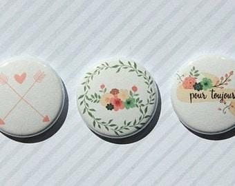 "3 badges 1 ""flowers"