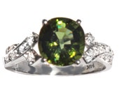 Beautiful 2.8 ct Chrome Green Tourmaline & Diamond Ring