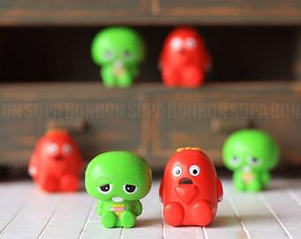 2 pcs / Decoden / Figurine / GACHAPIN & MUKKU / Charms / Figurine / Miniature / 3cm / EU264