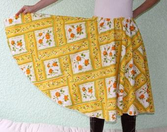 Vintage Tablecloth Circle Skirt Tea Roses Orange Yellow Green COLORFUL
