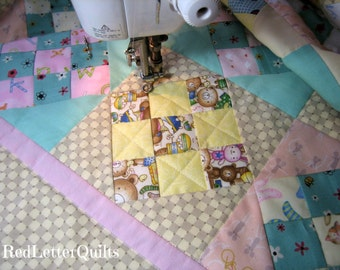 Baby Girl Patchwork Quilt - Cute Prints! Traditional Heirloom with Modern Quilting