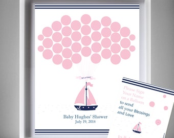 Nautical Girl Guest Book Printable Alternative Sailing Ship For Baby Shower  Or Birthday,Wall Art