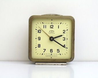 Vintage Light Brown Mechanical Alarm Clock / Made in CCCP