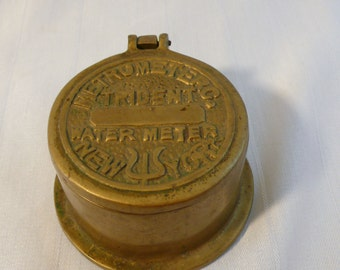 Brass New York Neptune Trident Water Meter Trinket Box/Ash Tray
