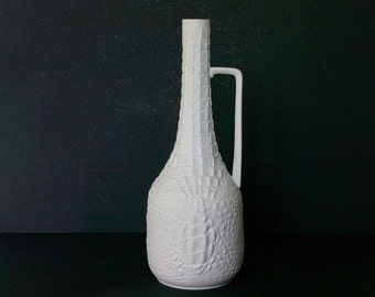 Vintage AK Kaiser white bisque porcelain handled vase, reptile decor, Germany