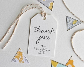 Wedding thank you tag stamp, customizable with names and date, wedding favor stamp, black self inking stamp