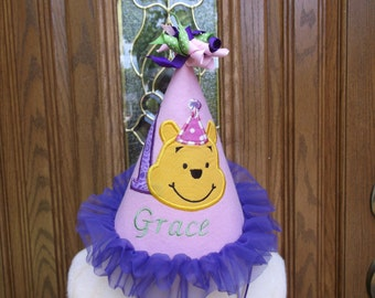 Girls First Birthday Party Hat -  Loveable Winnie The Pooh Hat - Free Personalization