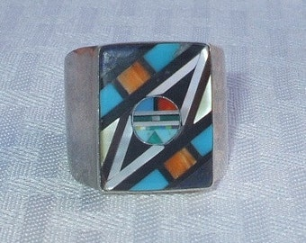 Signed Vintage DAVID FREELAND Jr. Sterling Silver & Channel Inlay RING, size 13