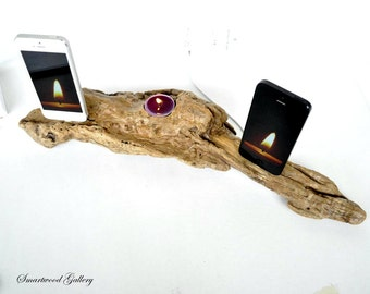 iPhone 7/7+ dual docking station, iPhone 6/6+/5/5s dual dock - Natural driftwood The Golden Lava