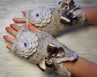Women Fingerless Mittens  Silver Grey Fingerless Gloves Arm Warmers Spring Fashion Gifts for Her