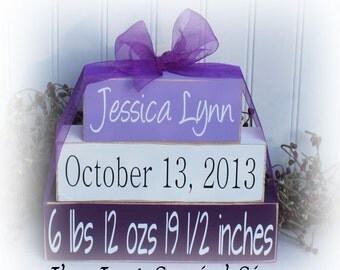 Custom Baby Name Wood Stacking Blocks for birth announcement