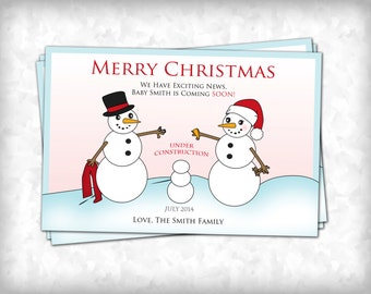 Christmas Pregnancy Announcement - Snowman Family 4x6  (10 Count with Envelopes)
