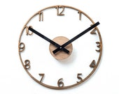 "Unique Naked Wood Wall Clock.  Cutout walnut clock, modern mid-century style.  11"" diameter."