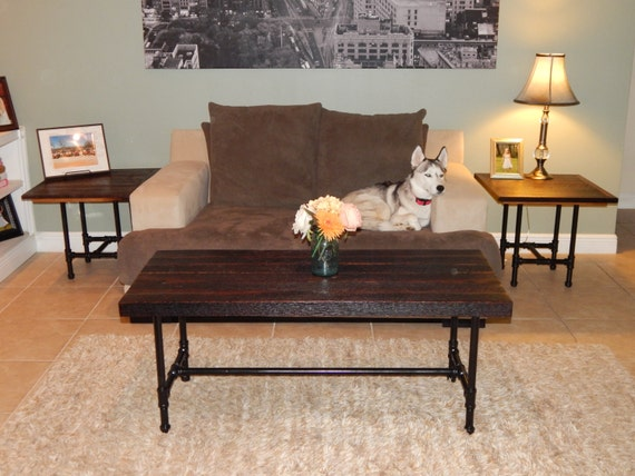 Reclaimed Oak Coffee Table And End Tables With Pipe Legs