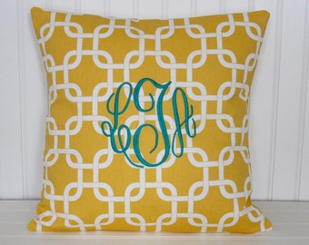 Monogrammed Pillow Decorative Throw Pillow Cover Personalized Home Decor Baby Gift Dorm Decor