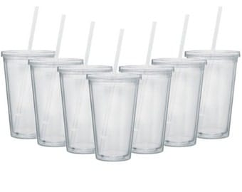 SHIPS in ONE day! Set of 4 Tumblers Clear Acrylic tumblers with lid and Straw, DIY tumblers, high quality tumblers, Tumbler with straw,