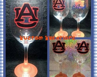 University Inspired Auburn Wine Glass
