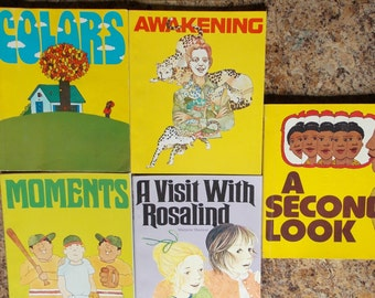 Set of Five  Children's Learning Books Vintage 1975 Softcover Textbooks