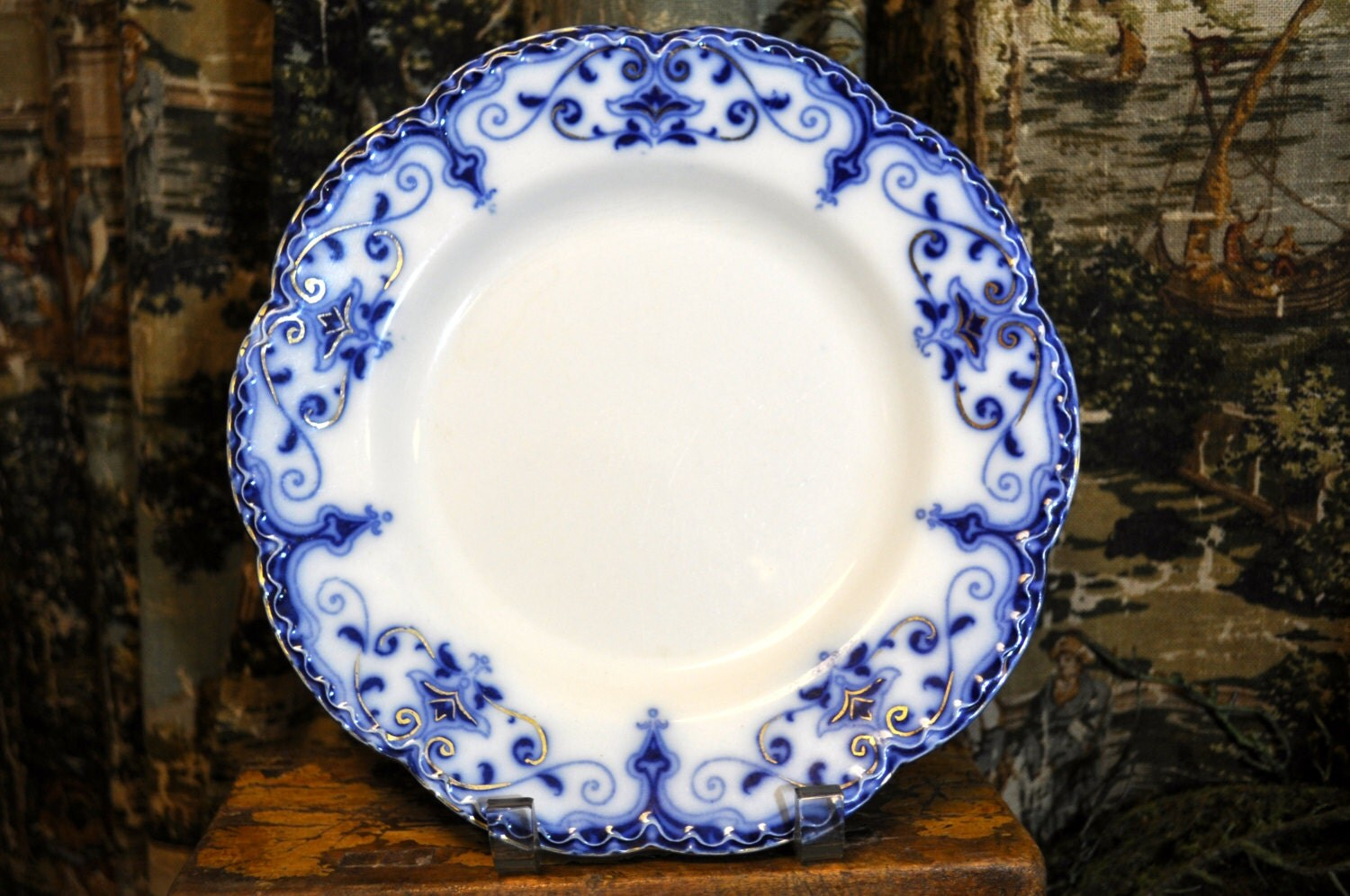 Flow blue plate antique and white english