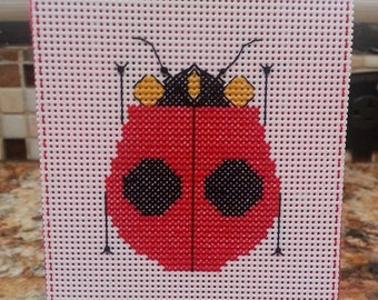 LADYBUG - Cross Stitch Wine Bottle Tag or Door Danger - Ornament - Charlie Harper In Stitches
