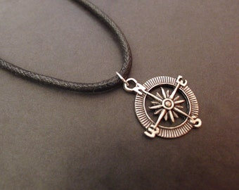 "Spiritual Compass 18"" to 24"" cord necklace pendant mens pagan wiccan jewellery rope wicca"