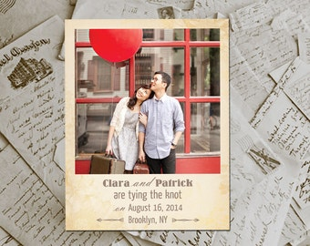 "Wedding Save The Date Magnets - RusticGroove Vintage Photo Personalized 4.25""x5.5"""