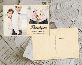 "50 Wedding Thank You Cards - Normandy Vintage Photo Personalized 4""x6"""