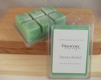Stress Relief Scented 100% Soy Wax Melt Tart - Relaxing and Calming   -Triple Scented