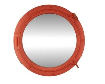 """24"""" Orange Porthole Mirror / Decorative Portholes / Nautical Port Hole Mirrors / Beach Decor Port Holes"""