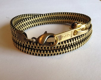 New Brass Zipper Wrap Bracelet