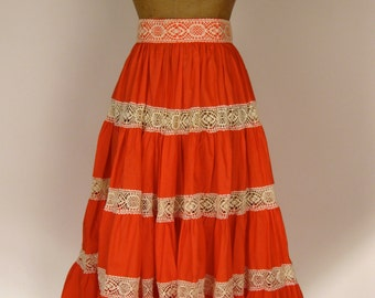 Vintage 1950s Tiered Skirt with Crochet Trimming