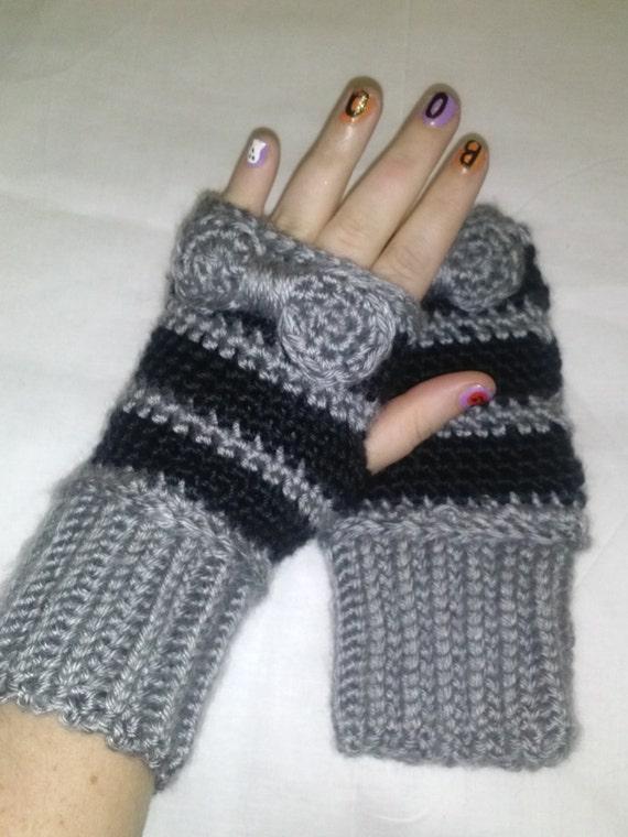 cute bow crochet fingerless gloves